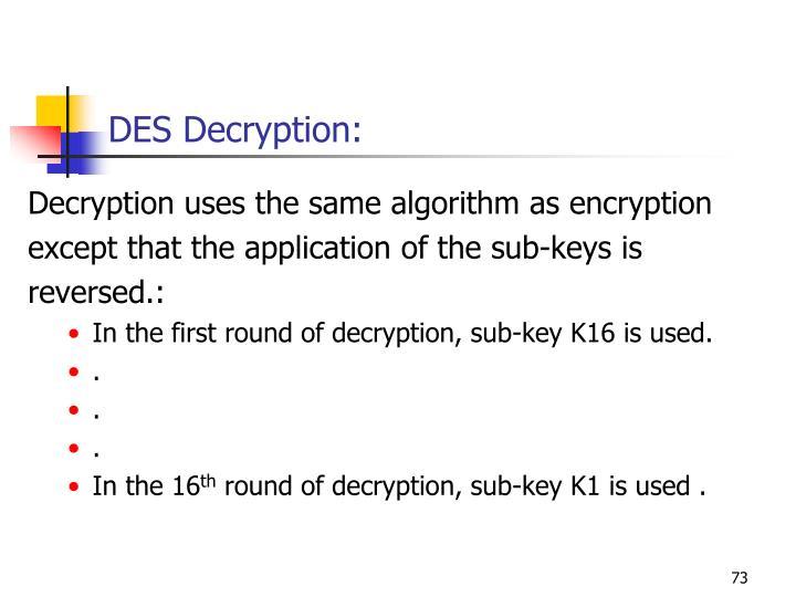 DES Decryption: