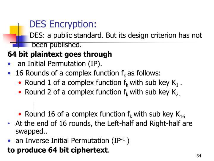 DES Encryption: