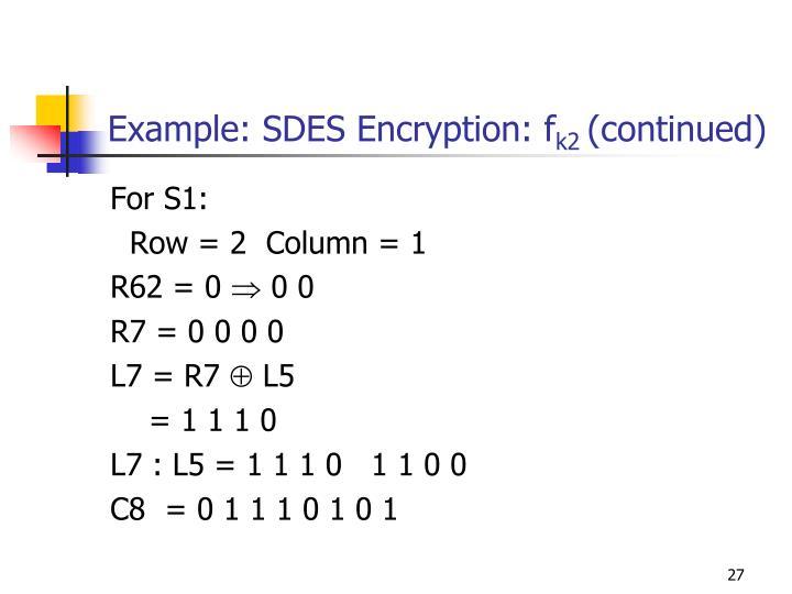 Example: SDES Encryption: f