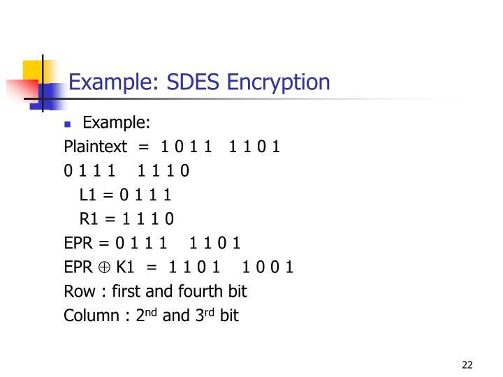 Example: SDES Encryption