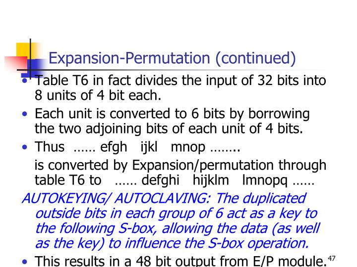 Expansion-Permutation (continued)
