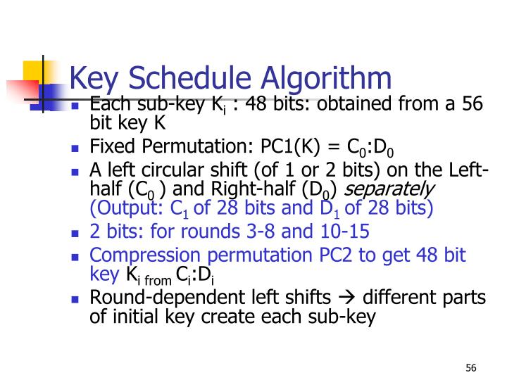 Key Schedule Algorithm