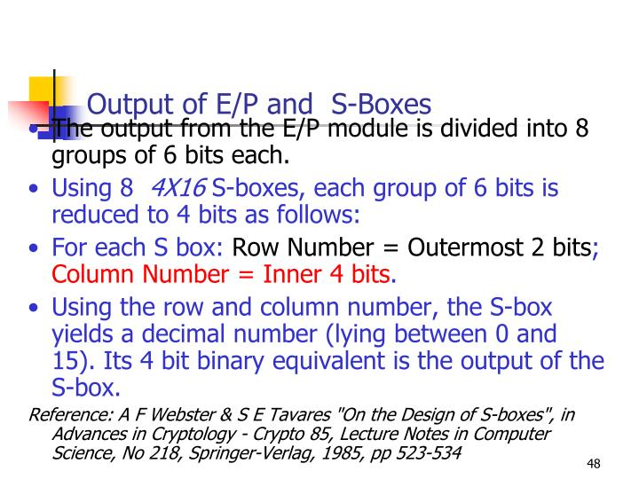 Output of E/P and  S-Boxes