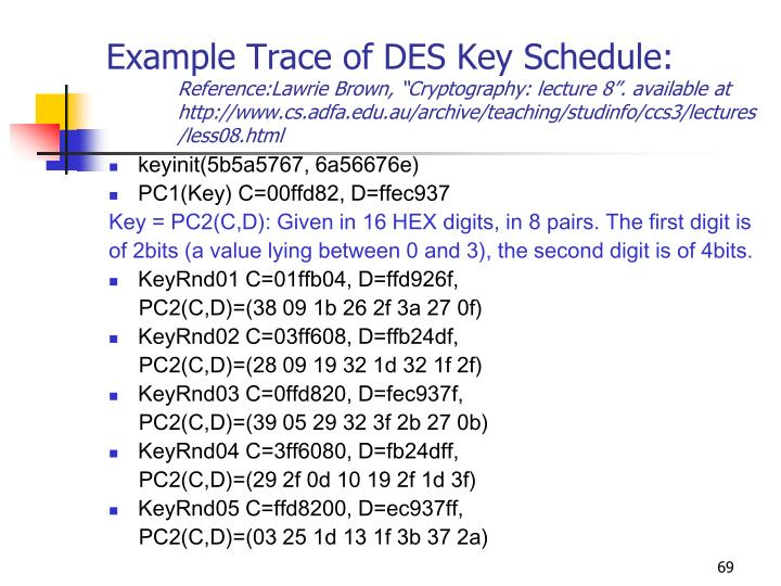 Example Trace of DES Key Schedule:
