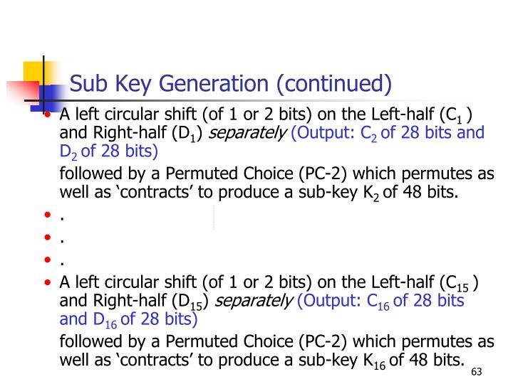 Sub Key Generation (continued)