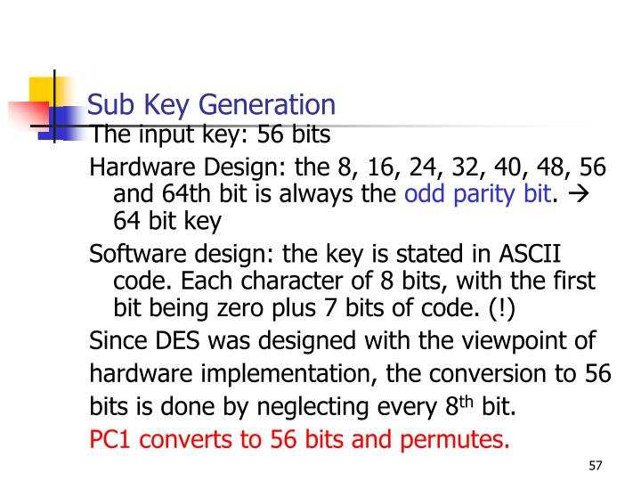Sub Key Generation