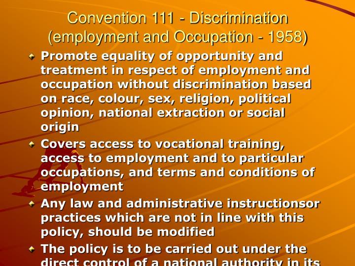 Convention 111 - Discrimination