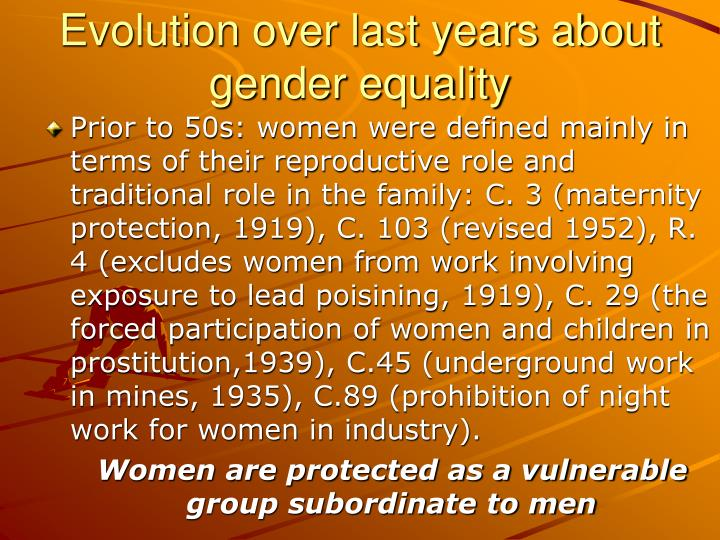 Evolution over last years about gender equality
