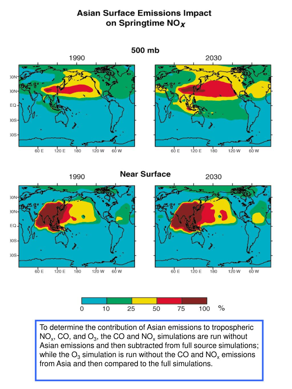 To determine the contribution of Asian emissions to tropospheric NO