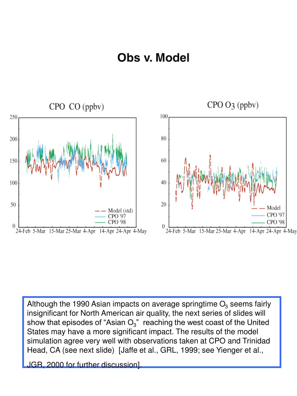 Although the 1990 Asian impacts on average springtime O