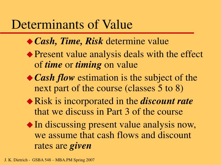 Determinants of Value