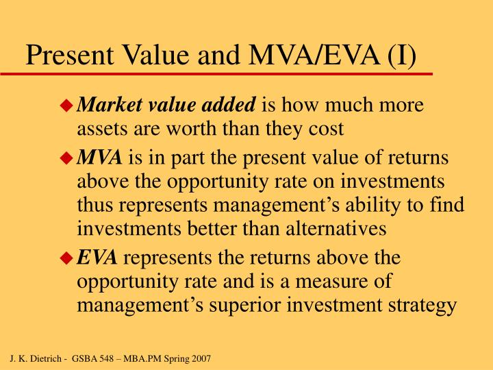 Present Value and MVA/EVA (I)