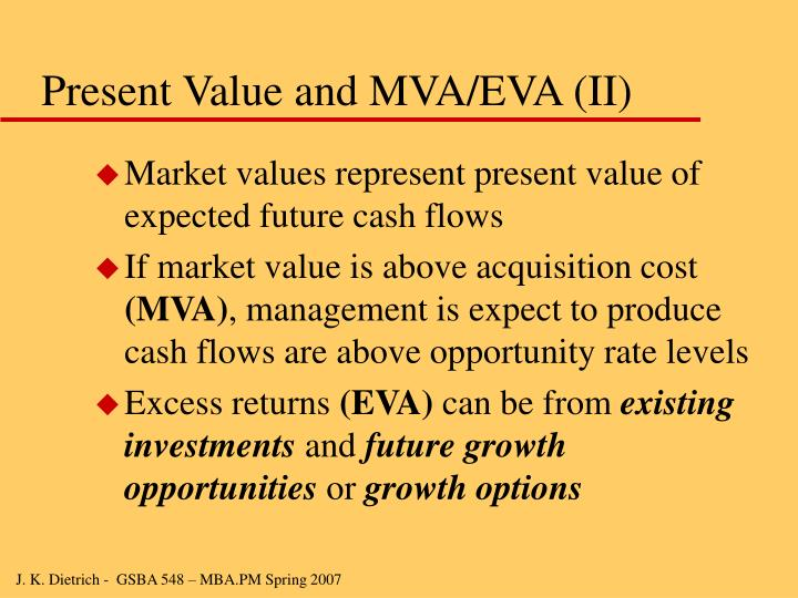 Present Value and MVA/EVA (II)