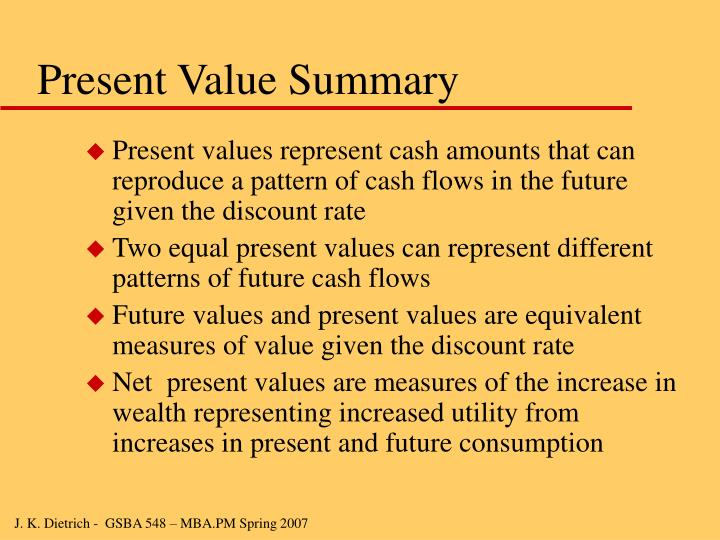 Present Value Summary
