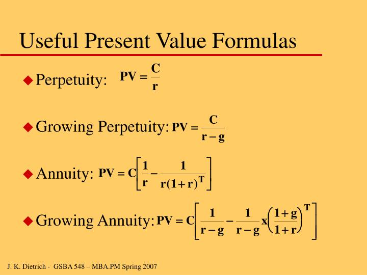 Useful Present Value Formulas