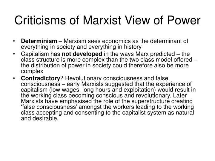 Criticisms of Marxist View of Power