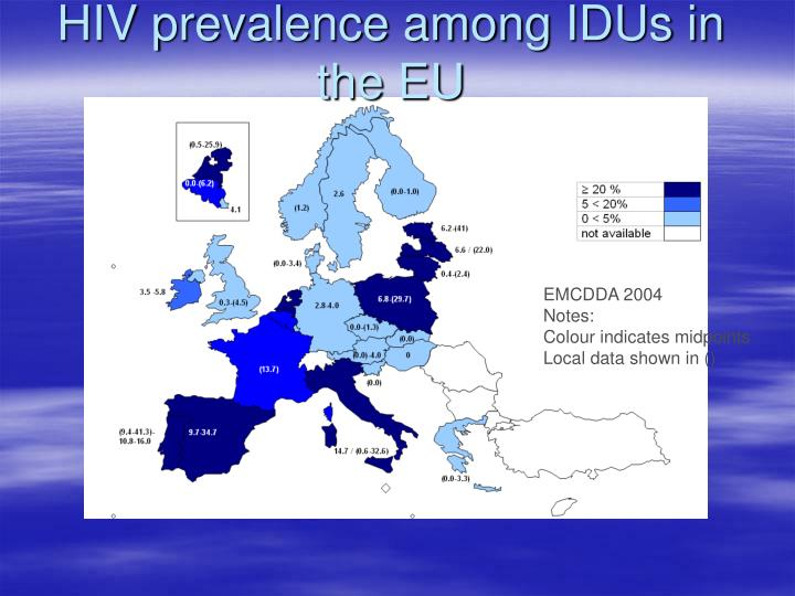 HIV prevalence among IDUs in the EU