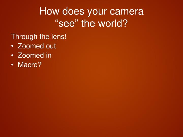 How does your camera see the world