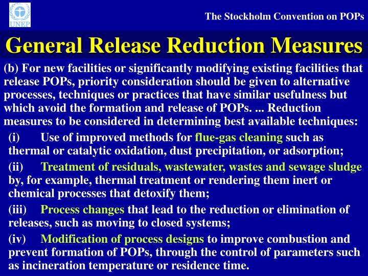 General Release Reduction Measures