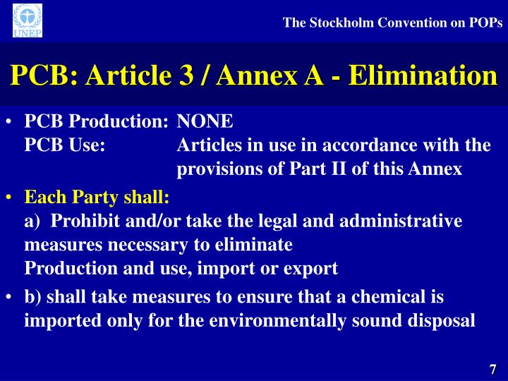 PCB: Article 3 / Annex A - Elimination