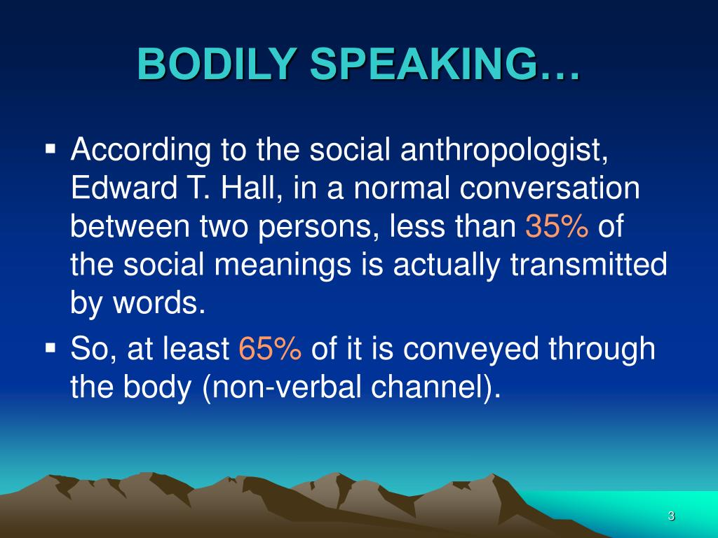 BODILY SPEAKING…
