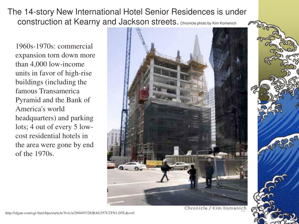 The 14-story New International Hotel Senior Residences is under construction at Kearny and Jackson streets.
