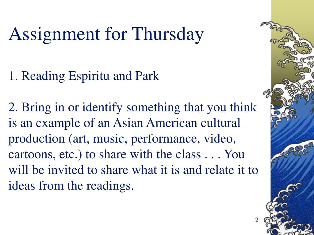 Assignment for Thursday