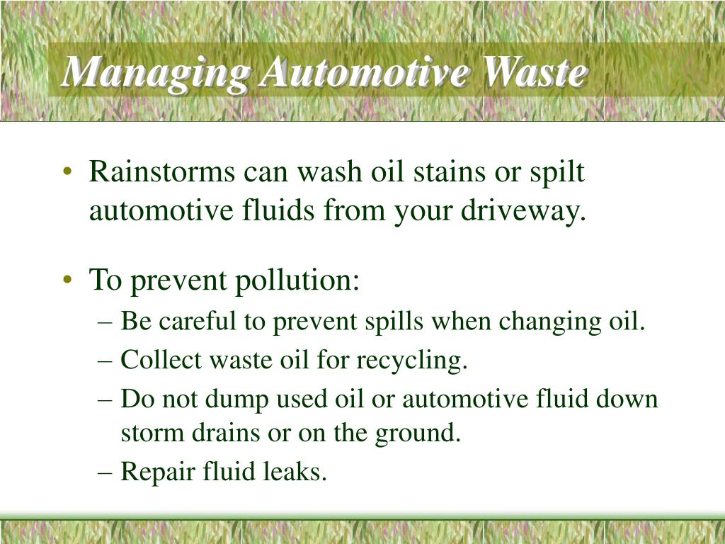 Managing Automotive Waste