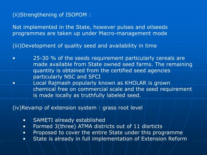 (ii)Strengthening of ISOPOM :