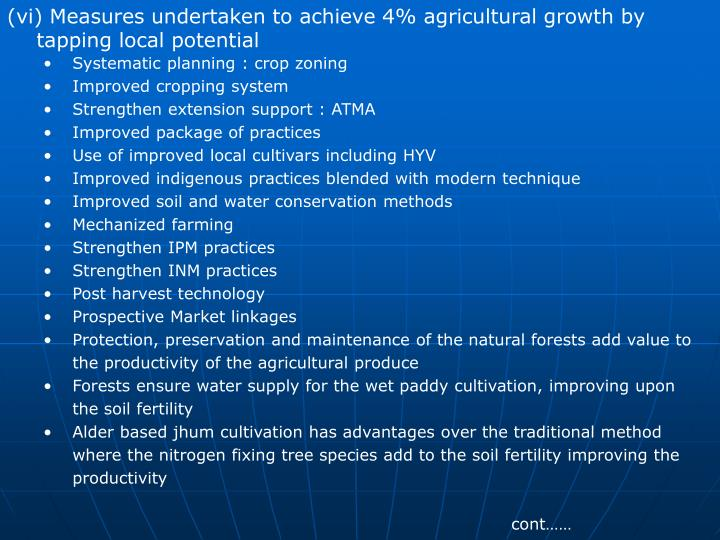 (vi) Measures undertaken to achieve 4% agricultural growth by      tapping local potential