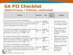 ga pii checklist data privacy policies continued