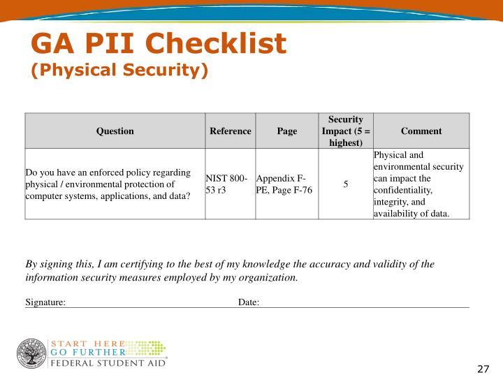 GA PII Checklist