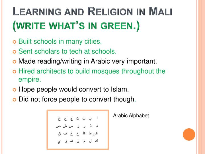 Learning and Religion in Mali