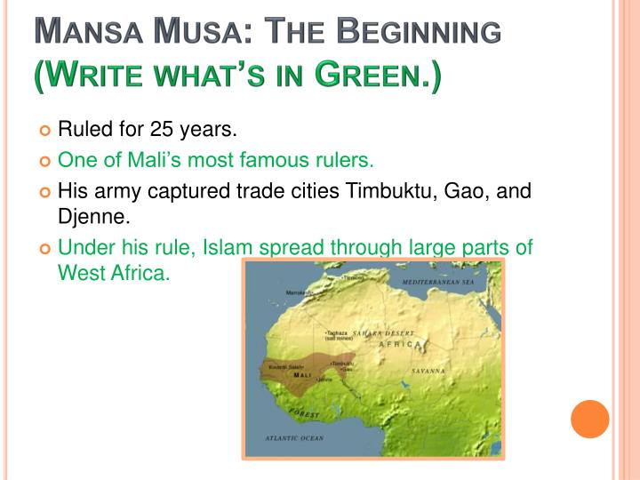 Mansa musa the beginning write what s in green
