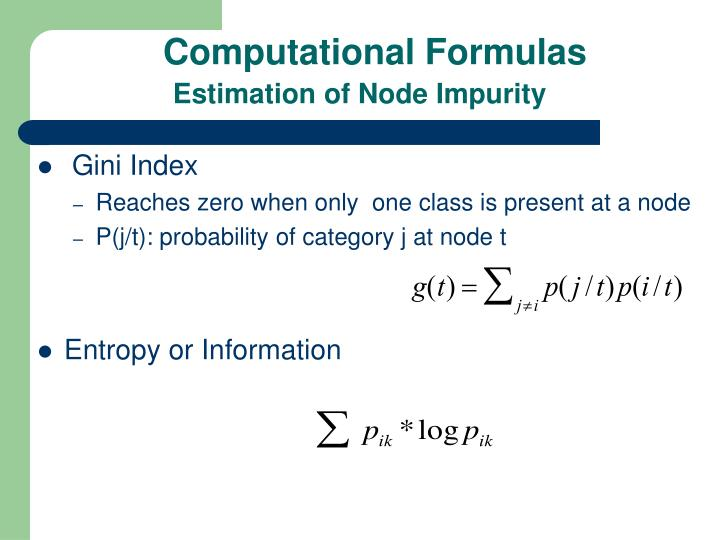 Computational Formulas