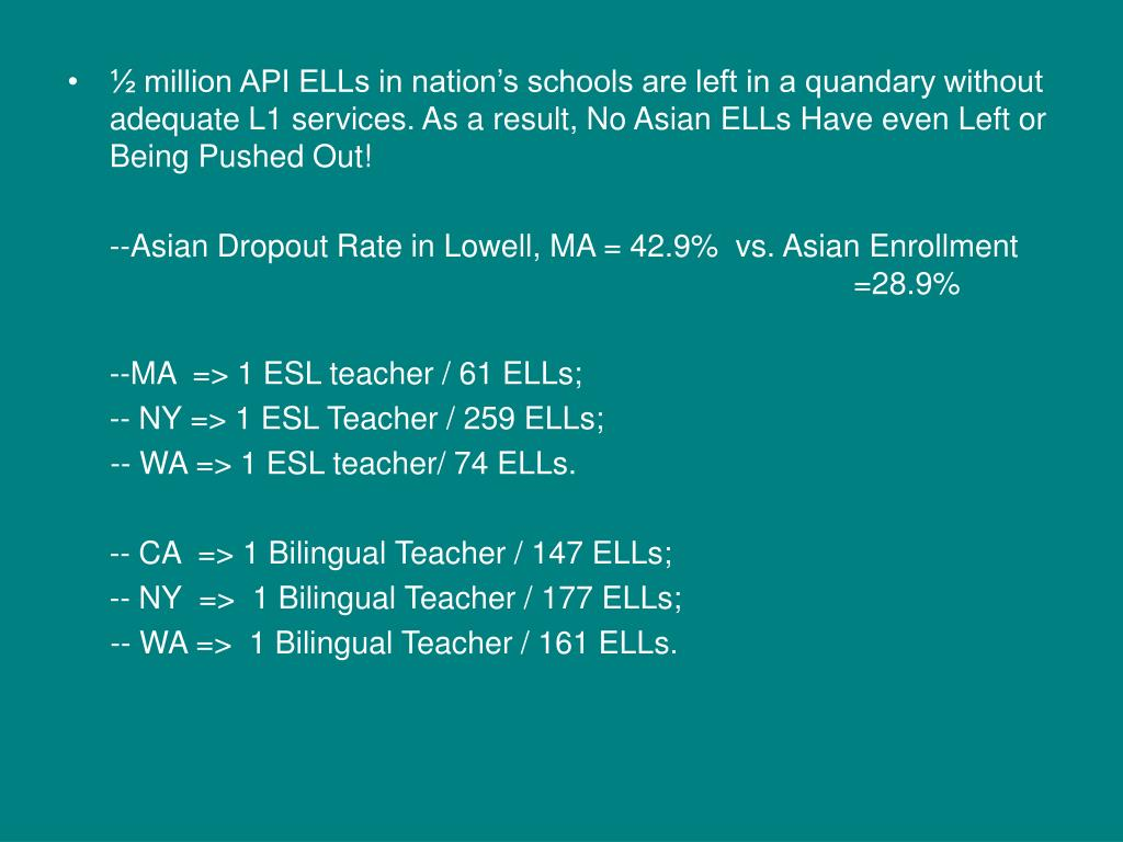 ½ million API ELLs in nation's schools are left in a quandary without adequate L1 services. As a result, No Asian ELLs Have even Left or Being Pushed Out!