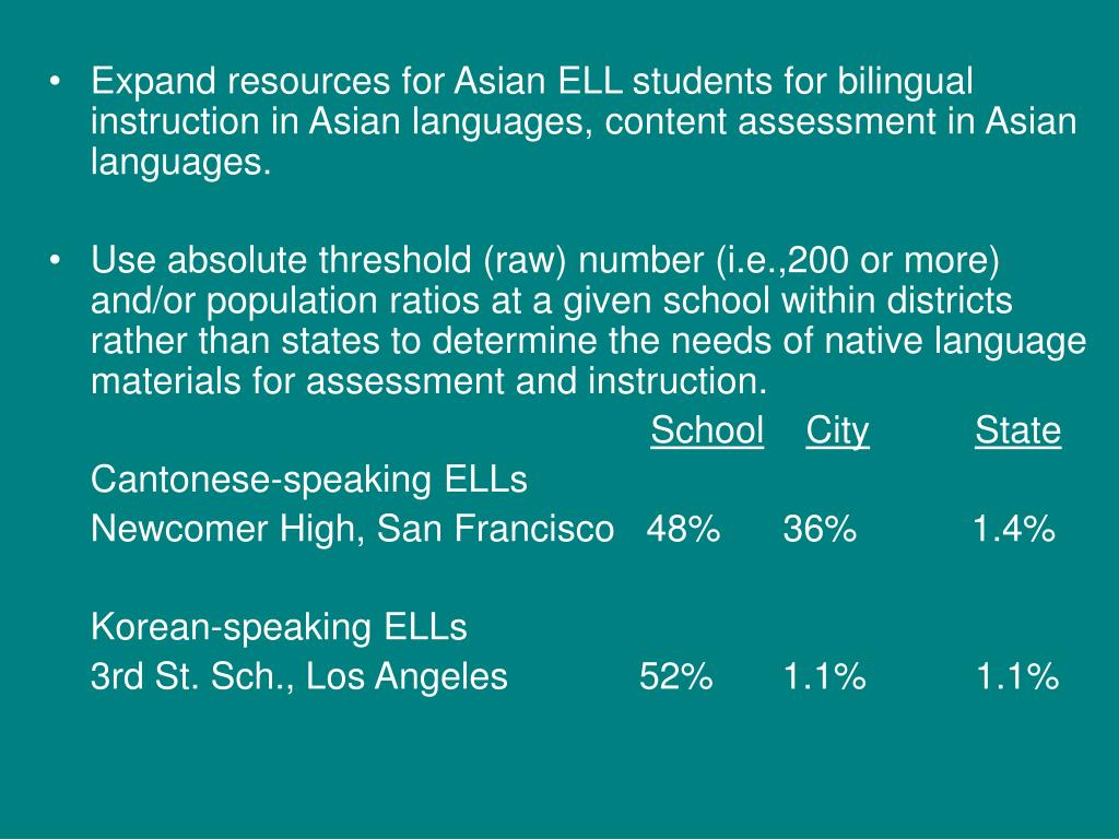 Expand resources for Asian ELL students for bilingual instruction in Asian languages, content assessment in Asian languages.