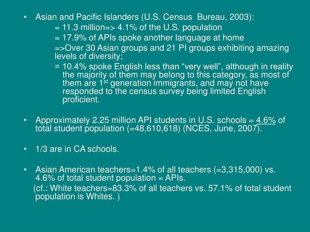 Asian and Pacific Islanders (U.S. Census  Bureau, 2003):