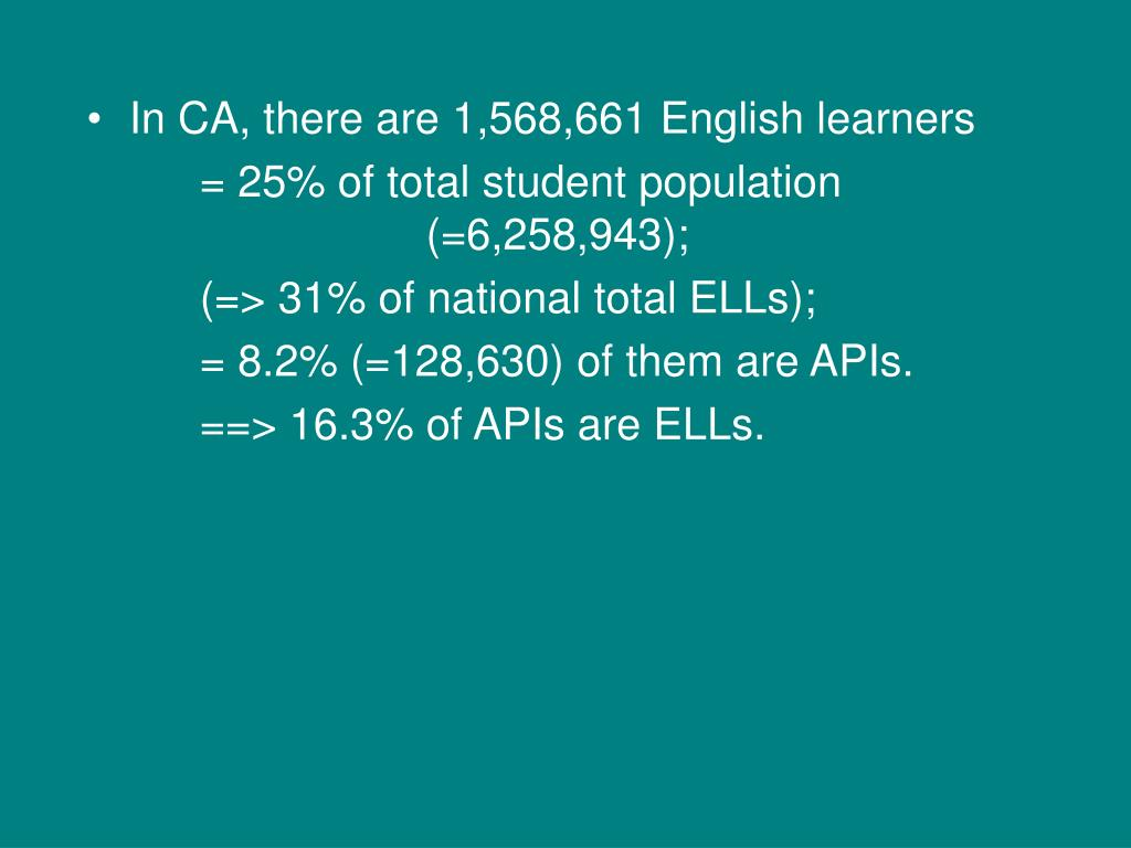 In CA, there are 1,568,661 English learners