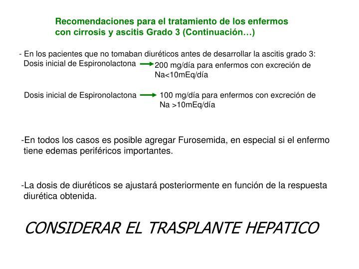 Recomendaciones para el tratamiento de los enfermos