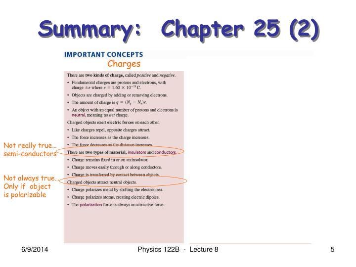 Summary:  Chapter 25 (2)