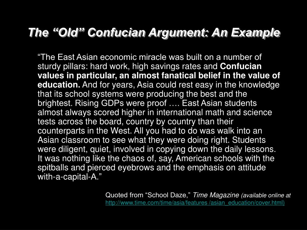 """The """"Old"""" Confucian Argument: An Example"""