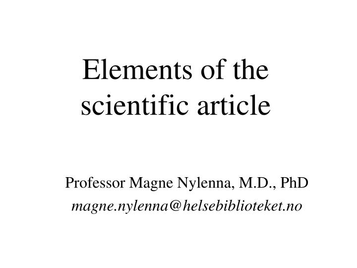 Elements of the scientific article