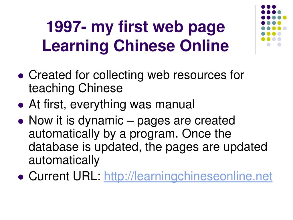 1997- my first web page Learning Chinese Online