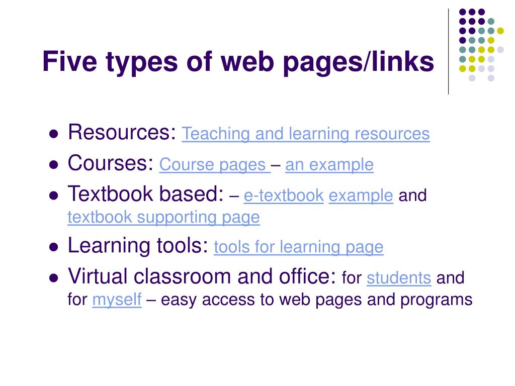 Five types of web pages/links
