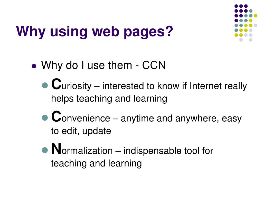 Why using web pages?