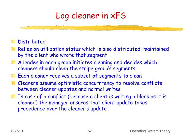 Log cleaner in xFS