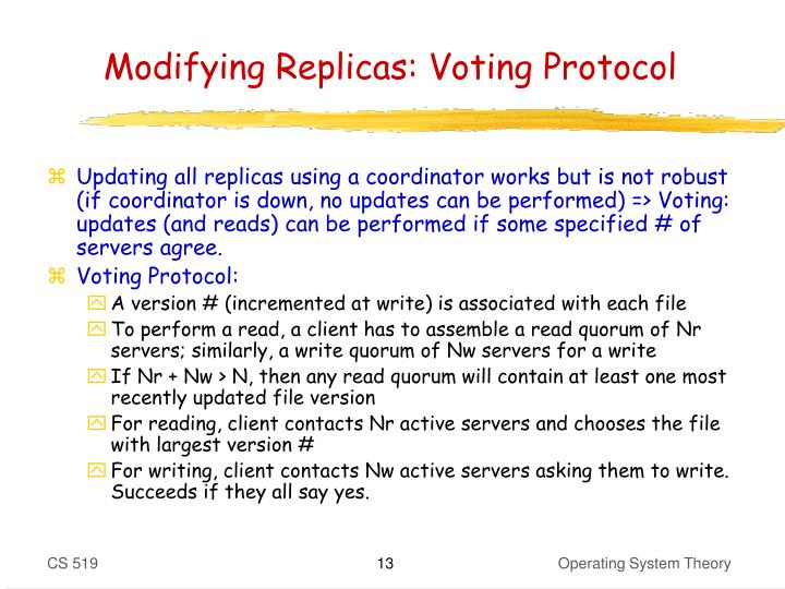 Modifying Replicas: Voting Protocol