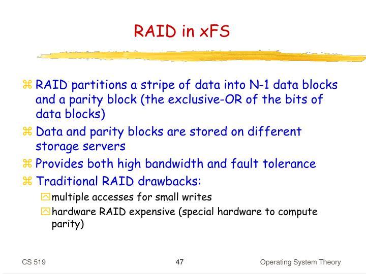 RAID in xFS