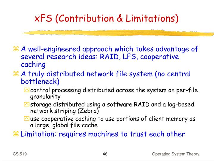 xFS (Contribution & Limitations)